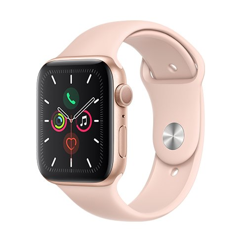 Apple Watch Series 5 GPS, 44mm Gold Aluminium Case with Pink Sand Sport Band mwve2hc/a